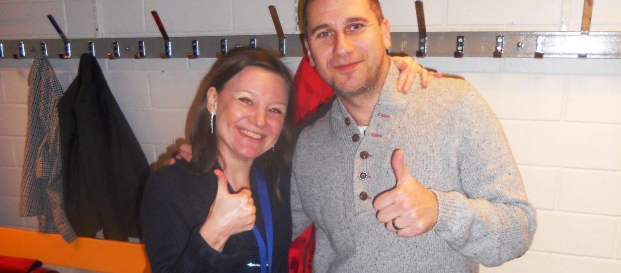 Körledaren Cecilia Nedgård i logen med Markoolio