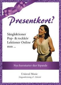 Presentkort på sånglektioner, körsång och online kurser