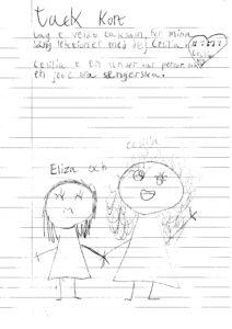 Tackkort från sångelev Eliza 8 år
